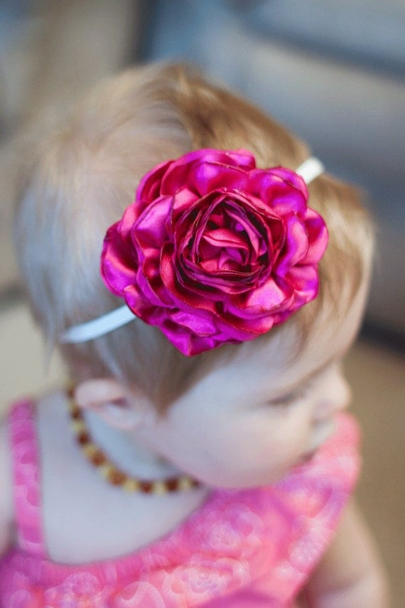 Infant/Toddler Satin Rose Headband / Hair Clip