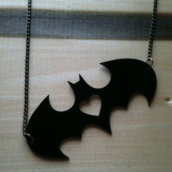 I heart Batman, Batman Logo Pendant, Black Acrylic