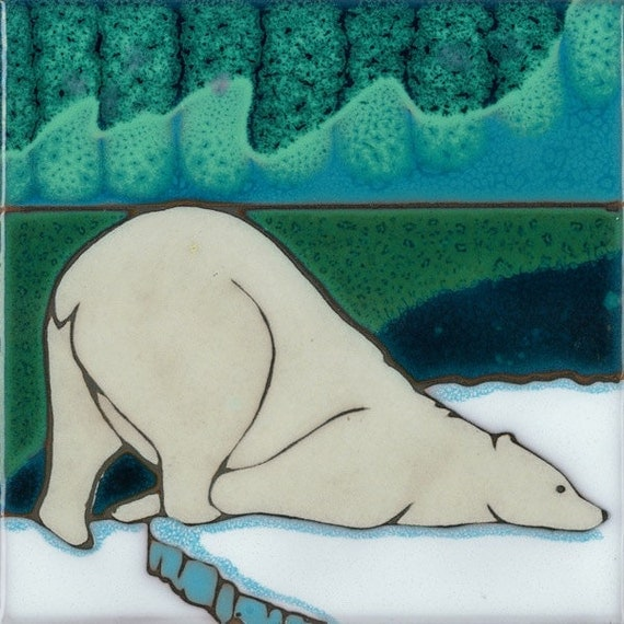 Hand Painted Ceramic Tile - Polar Bear American Made original