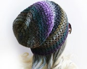 "Slouchy beanie Gaming hat Under headset ""Ninja"" Gray Purple Brown Green stripes Soft Thin Crochet hat Mens Womens Gamer - Cuteling"