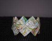 Paper Origami Bangle made with a map - Eco Friendly Jewelry - Bracciale Carta
