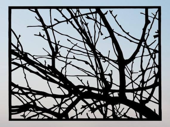 Tree Branches Handmade Original Papercut Gift: Hand-Cut Paper Art Silhouette