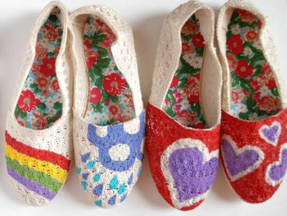 Hand Painted Flats - Hearts - children's size 13