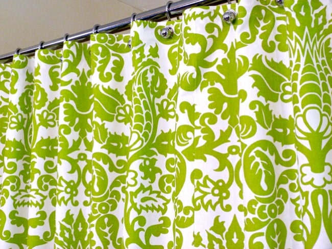Shower Curtain in Green and White Pattern Green by LaRicaHome