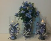 Set of 3 Lavender candle holders w/ flower arrangement (Roses)