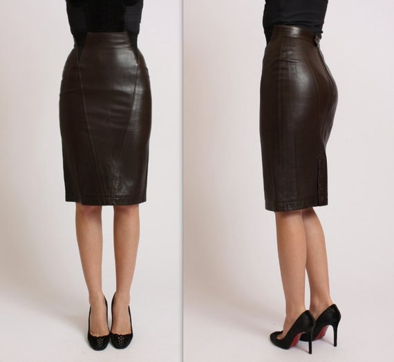 80s ALAIA leather corset pencil skirt. Size XS by Tapestry Vintage LA on Etsy