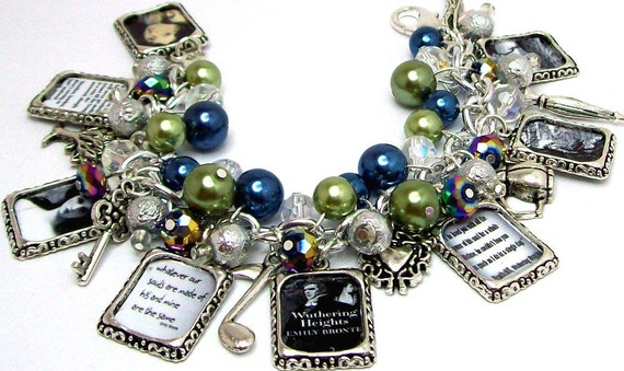 Emily Bronte Wuthering Heights Inspired Chunky Charm Bracelet Beaded Altered Art Picture Charms Beads Books Writers Novels