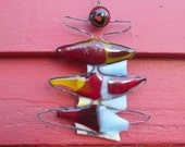 Wire fused glass Christmas tree Ornament