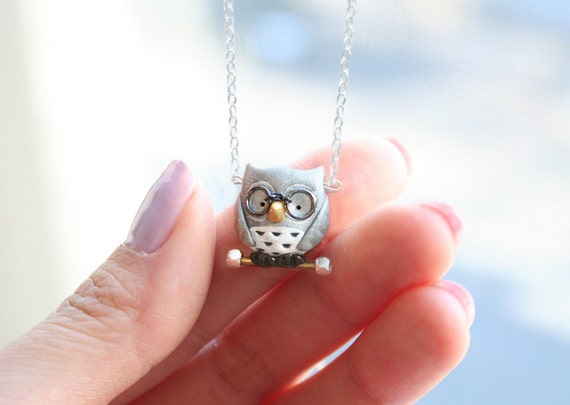 Henry the owl necklace -Sterling Silver-