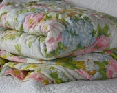 "Vintage Quilted Floral Bedspread Full/Double/Queen Size 111""x80"" - SelectedAndCollected"