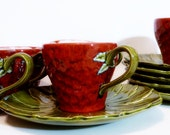 charming handmade 5 piece strawberry vintage tea cups and saucers - hand made and signed by Val 1970 - 24KaratOld