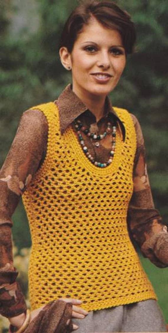 Vintage Crochet  Summer Long Camisole Top PDF Pattern