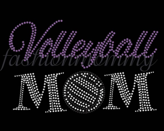Volleyball Mom U choose 1 color Rhinestone Transfer Iron On Applique Bling Crystal