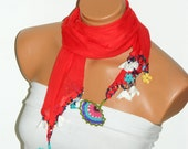 2012 summer trends Crocheted red scarf with handmade multi color oya flowers - WomanStyleStore
