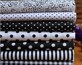 7 pieces Black and white Series Color collection Cotton Cloth  Quilt Fabric - FeiYa
