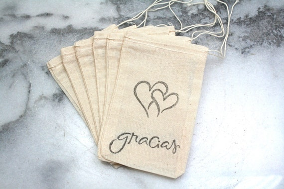 Wedding favor bags, muslin, 3x5. Set of 50. Script Gracias with double hearts in black on natural white cotton.