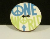 Wood Button Brooch - One World - TheBookCellar