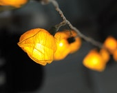 20 yellow handmade real leaf Rose flower leaf string light patio decoration wedding bedroom living room party lantern - cottonlight