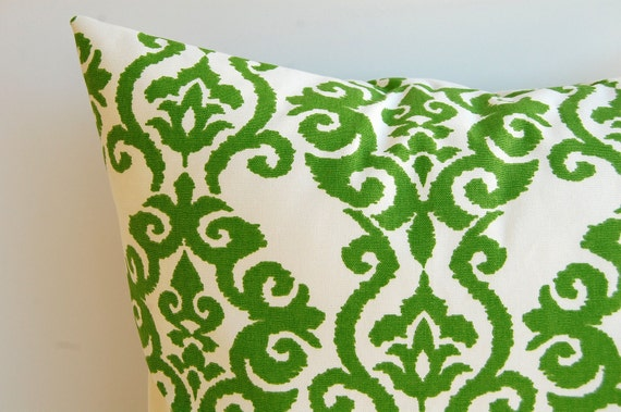"Throw pillow cover emerald green and ivory 18"" x 18"""