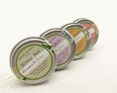 Lip Balm Set - Natural Honey Herbal Balms - Rose Garden, Honey Bee, Sweet Orange and Lavender - Hostess Gift Harvest Fall Autumn - WinsomeGreen