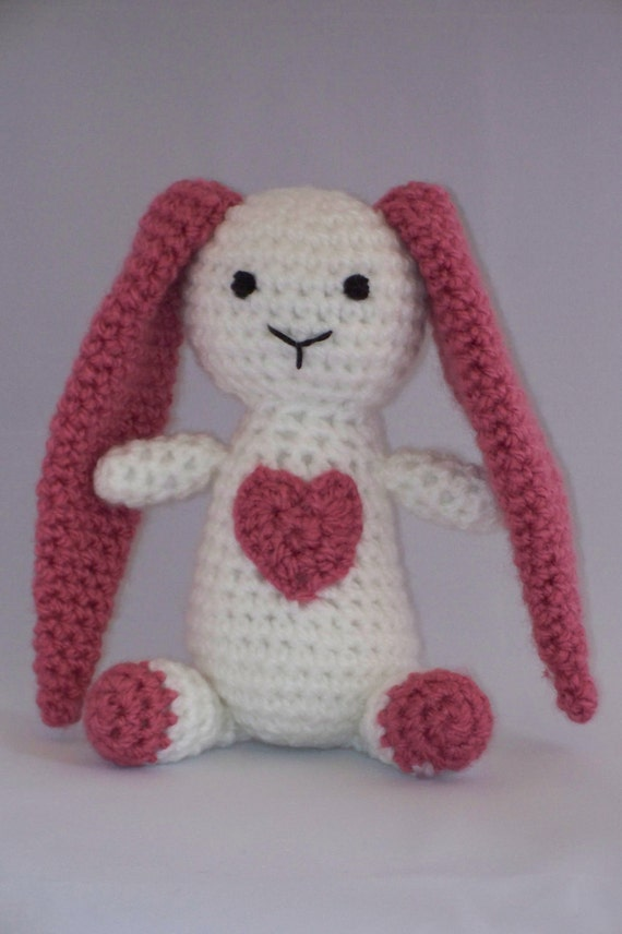 Crochet Bunny with a Big Heart, Stuffed Toy,  Rose Pink and White, Baby, Baby Shower Gift