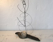Wire Sculpture Ballerina on Driftwood. Rustic House Decor. Childrens Decor.