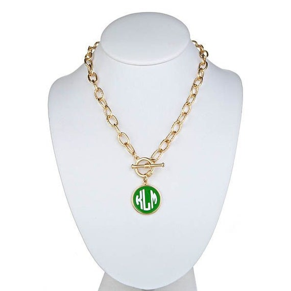 Monogrammed necklace with charm personalized