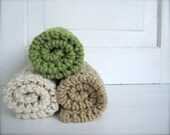 Crochet 100% Cotton Washcloths Dishcloths, Facecloths Set of 3, Mocha Tan, Natural Cream, Sage Green