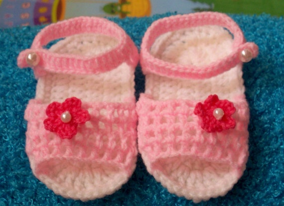 pink sandals with Watermelon-red flowers