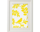 Unframed Vintage Modern inspired Yellow Bird  Print Art Print - 8x10 Print - Featured in White Frame. FREE SHIPPING