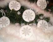 Holiday Decorations - White Grey Snowflakes Embroidered Christmas Ornaments - Home Decor - Winter Ornaments - Christmas in july - HET- - Customquiltsbyeva