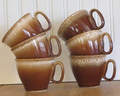 McCoy Mugs Brown Drip 1970s Brown Mugs