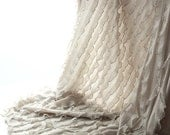 Angel Wings Ruffled Knit Fabric in Beige 1 Yard 18232-262