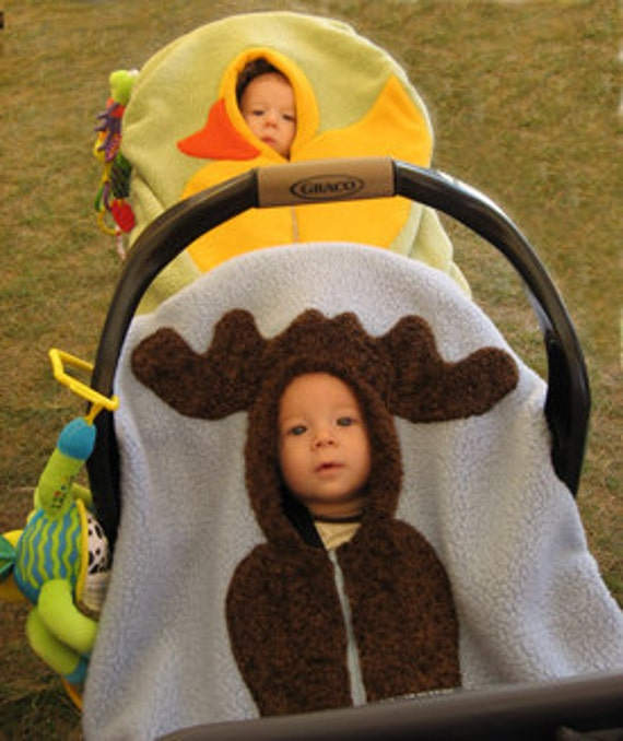 Moose Baby Car Seat Cover... on medium blue