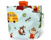 "Reusable Snack Bag, Eco Friendly, Gusset and Finger Tabs, Blue ""Fox Trails"" by Riley Blake Designs, Orange, Brown, Green, Camping & Outdoors - Pepperpicnic"