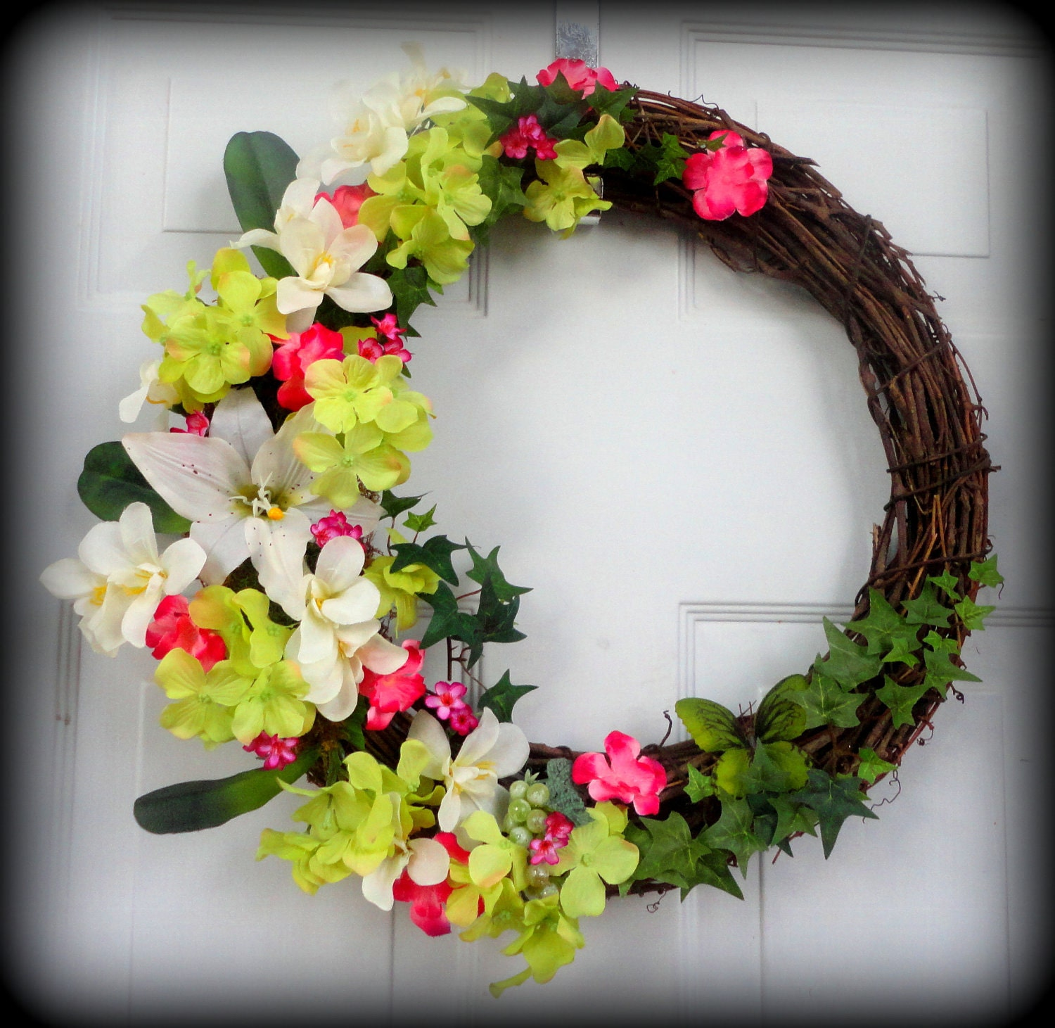 Grapevine Wreath Spring/Summer Wreath Wall by SparkleWithStyle