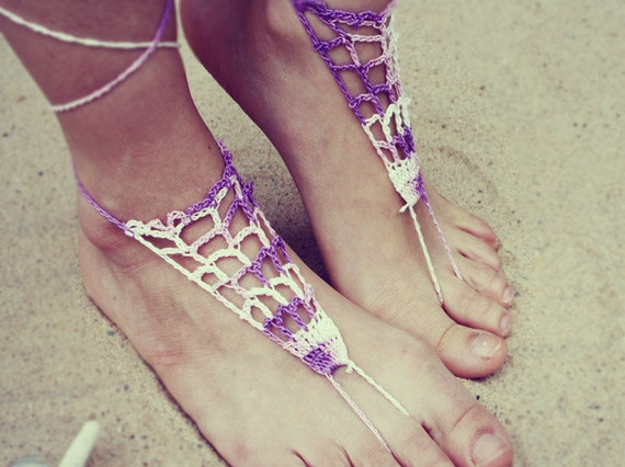 Handmade Crochet Barefoot Sandals,Hippie Foot Thongs, Bridal, Bridesmaids, Summer, Beach, Lace up Sandals, Festival, Gladiators, Bohemian
