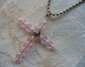 Pink Glass and Pink Pearl Bead Cross Necklace
