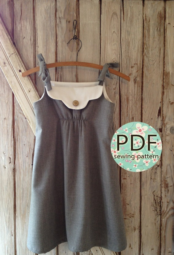 Annie - Vintage Style Girl's Dress Pattern PDF Tutorial, Girl's Sewing pattern Easy Sew sizes 12m thru 8 included
