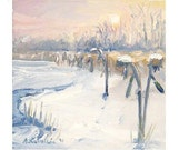 """Winter SUNFLOWERS LANDSCAPE Original Small Oil Painting 5"""" X 5""""  Sunset  stretched canvas pink lavender blue white Front Page"""
