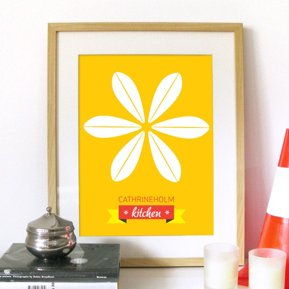 Mid Century Cathrineholm modern Art Poster illustration Flower inspired in Cathrineholm plates in Yellow - A3 poster size - mid century