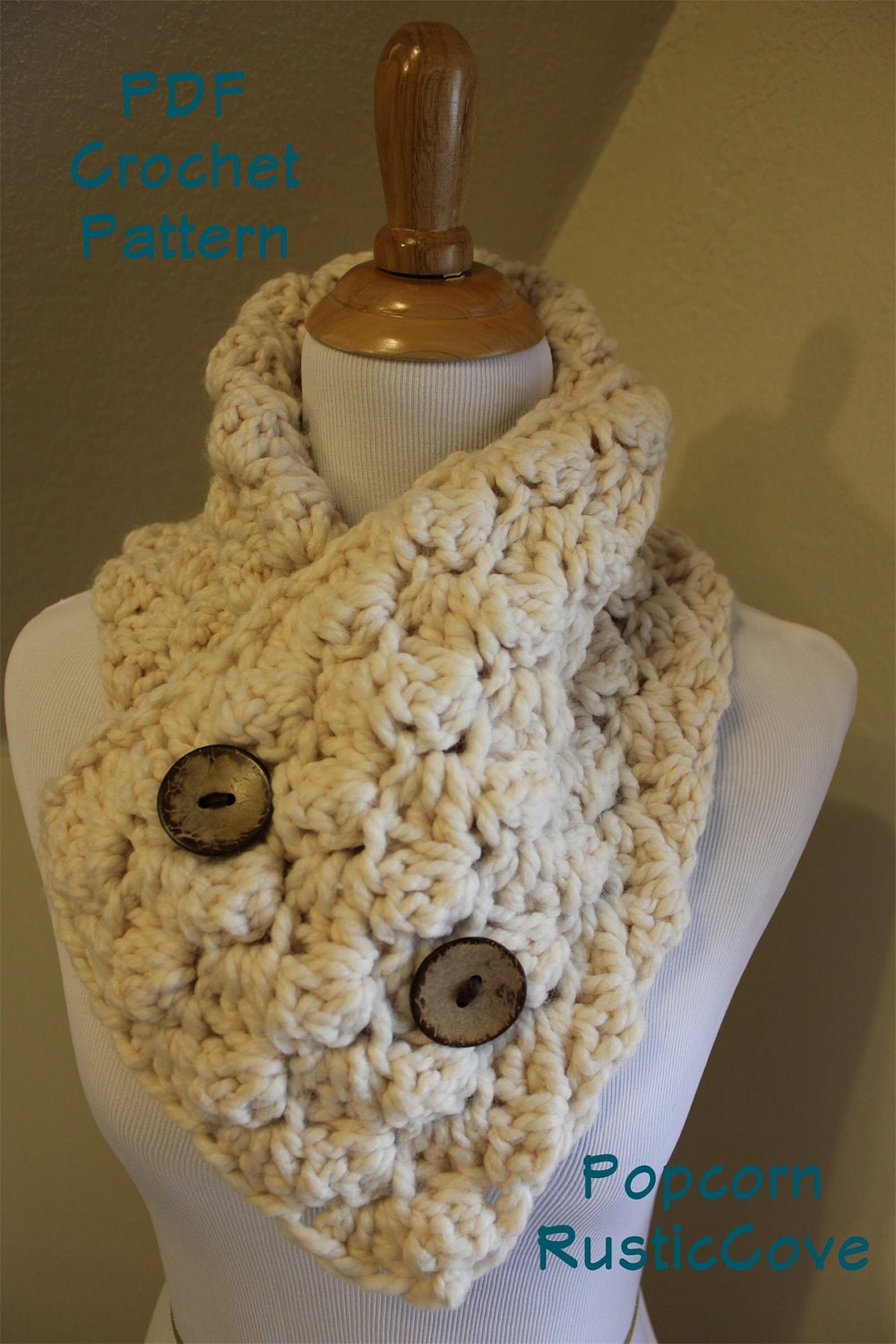 Crochet Scarf Pattern With Button : CROCHET PATTERN Popcorn Scarf Neck Warmer Wrap Button Up