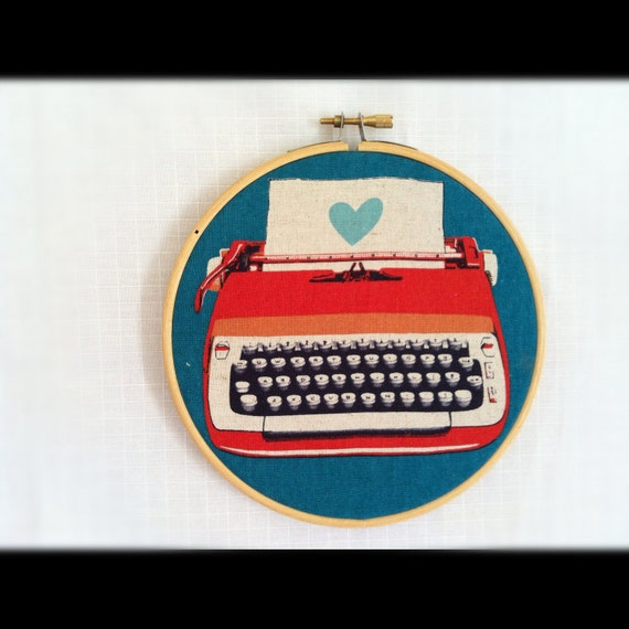 """Retro Typewriter Fabric by Melody Miller """"Ruby Star Rising"""" in Embroidery Hoop Wall Art Vintage"""