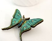 Insect Butterfly Pin Nature Brooch, Woodland Insect Pin, Vintage Style, Garden Teal - mintmoose