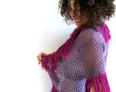 Purple Plum Fuschia Crochet Cardigan with Red Violet Fringe - FunFatale