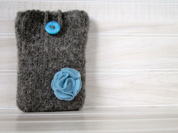 Felted cell phone cozy in brown and teal , smartphone case fits iPhone, Blackberry and Android phones