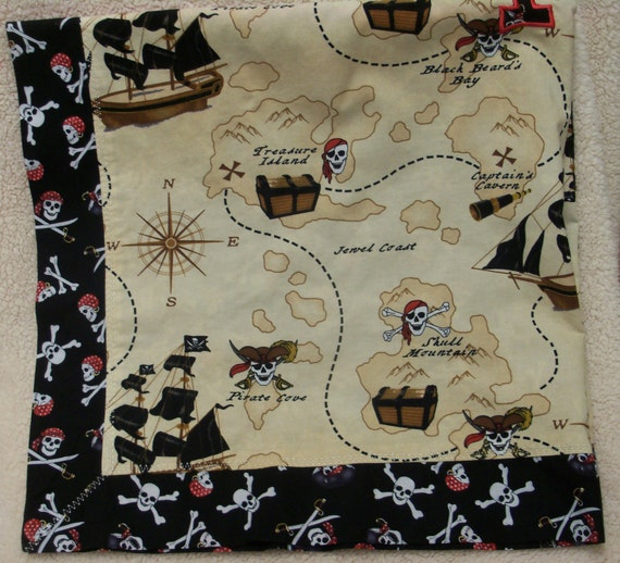 "Mitered corner  boy blanket. Pirates. 34""x34"" cotton/cotton blanket. Free personalization available."