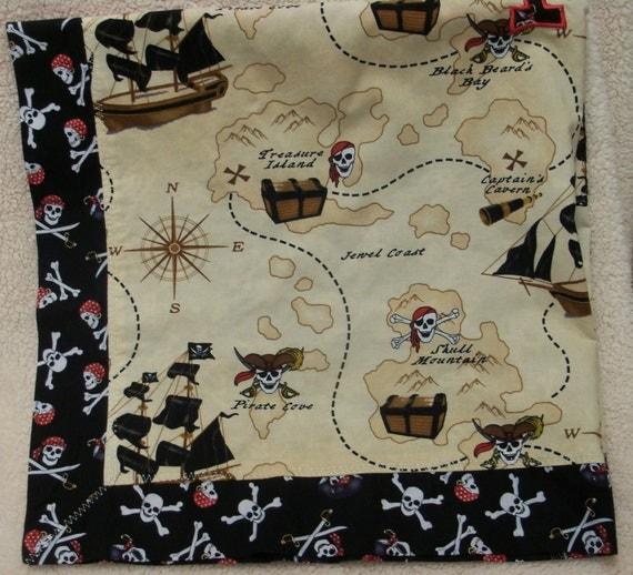 "Mitered corner  boy blanket. Pirates. 34""x34"" cotton/cotton blanket. Free personalization available."