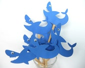 Shark Cupcake Toppers Qty 12-4th July-Birthday-Beach - sunshowerstuff