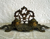 Antique Ink Well, Ornate Brass - AttiqueBoutique